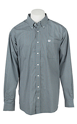 Cinch Men's Keyboard Blue Geo Print Long Sleeve Western Shirt