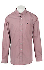 Cinch Men's Grey and Red Geo Print Long Sleeve Western Shirt