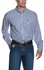 Cinch Men's White & Royal Blue Striped Print Western Button Down Shirt