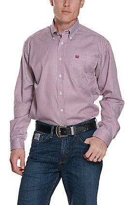 Cinch Men's White & Burgundy Striped Print Western Button Down Shirt