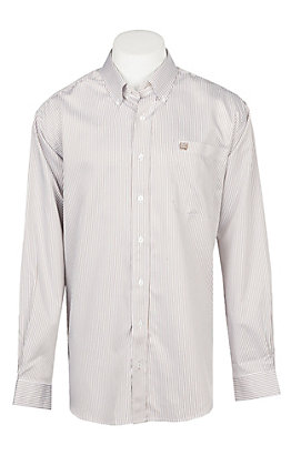 Cinch Men's White & Khaki Blue Striped Print Western Button Down Shirt
