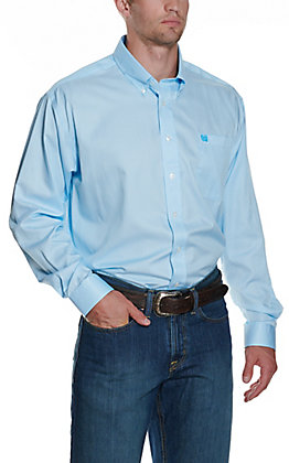 Cinch Men's White & Light Blue Striped Print Western Button Down Shirt