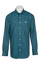 Cinch Men's Navy & Turquoise Print Long Sleeve Cavender's Exclusive Western Shirt