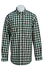 Cinch Men's Brown, Cream and Green Plaid Western Shirt