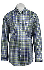 Cinch Men's Navy and Yellow Plaid Western Shirt