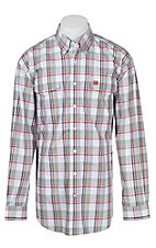 Cinch L/S Mens White Plaid Shirt 1107029