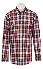 Cinch L/S Mens Black & Red Plaid Shirt 1107030