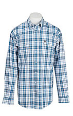 Cinch Men's Blue and White Plaid Long Sleeve Western Shirt