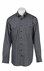 Cinch Men's Black, Purple, and White Medallion Print L/S Western Shirt