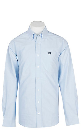Cinch Men's Solid Light Blue Oxford Long Sleeve Western Shirt