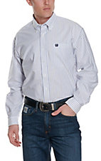 Cinch Men's Light Blue and White Stripe Oxford L/S Western Shirt