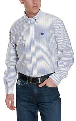 Cinch Men's Light Blue and White Stripe Oxford Long Sleeve Western Shirt