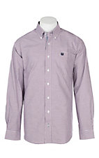 Cinch Men's Burgundy Oxford Gingham L/S Western Shirt