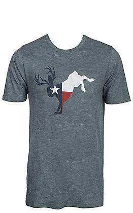 Men's Teal Texas Flag Jackalope Short Sleeve T-Shirt