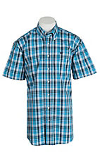 Cinch Men's Blue and White S/S Shirt