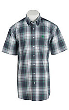 Cinch Men's White, Green, and Blue S/S Shirt