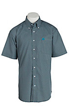 Cinch Men's Blue and Green Print S/S Shirt