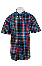 Cinch Men's Pink, Royal Blue, and Black Plaid S/S Shirt