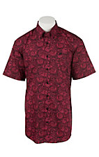 Cinch Men's Pink with Black Paisley S/S SHirt