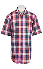Cinch Men's Navy, Fushia and Coral Print S/S Shirt
