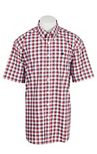 Cinch Men's Coral, Black, and White Plaid S/S Shirt