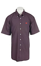 Cinch Men's Navy and Coral Print S/S Shirt