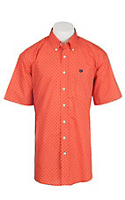 Cinch Men's Coral and Navy Mini Print S/S Western Shirt