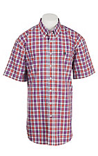 Cinch Men's Coral, Black, White, and Fushia Plaid S/S Shirt