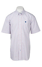 Cinch Men's White, Red, and Blue Grid Print S/S Shirt