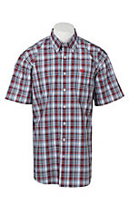 Cinch Men's White, Red, Blue, and Black Plaid S/S Shirt