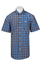 Cinch Men's White, Black, and Royal Blue Plaid S/S Shirt