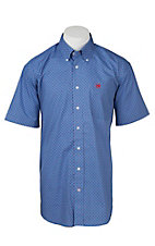 Cinch Men's Royal Blue, White, and Red Square Print S/S Shirt