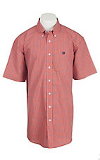Cinch Men's Coral and Black Windowpane Print S/S Shirt