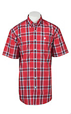 Cinch Men's Red, Blue, Black, and White Plaid S/S Shirt