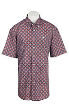 Cinch Men's Navy and Coral Medallion Print S/S Shirt