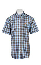 Cinch Men's Blue Plaid Short Sleeve Western Shirt