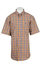 Cinch Men's White and Orange Plaid S/S Western Shirt