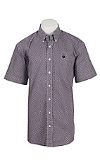 Cinch Men's Purple Print Short Sleeve Western Shirt 1111206