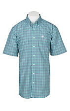 Cinch Men's Light Blue Plaid Print Short Sleeve Western Shirt
