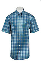 Cinch Men's Blue, Teal, and White Plaid Short Sleeve Western Shirt