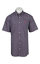 Cinch Men's Navy and Pink Patterned Print Short Sleeve Western Shirt