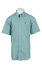 Cinch Men's Light Teal Blue and Black Print Short Sleeve Western Shirt