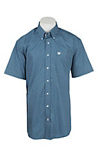 Cinch Men's Blue and White Patterned Short Sleeve Western Shirt