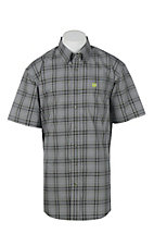 Cinch Men's Grey Plaid Short Sleeve Western Shirt