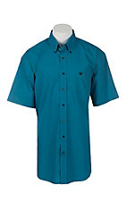 Cinch Men's Turquoise and Black Maze Print Short Sleeve Western Shirt