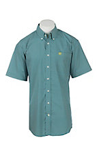 Cinch Men's Turquoise and White Diamond Print Short Sleeve Western Shirt