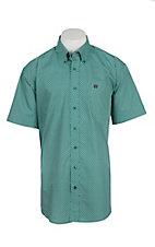 Cinch Men's Teal Pattern Short Sleeve Western Shirt