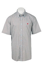 Cinch Men's Light Blue Lattice Pattern Short Sleeve Western Shirt