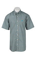 Cinch Men's Turquoise and Grey Print Short Sleeve Western Shirt