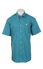Cinch Men's Turquoise Medallion Print Short Sleeve Western Shirt